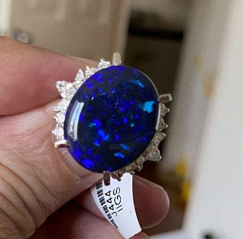 Magnificent 9.84ct Australian Black Opal & Diamond Platinum Ring