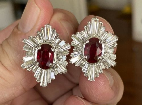 Magnificent Unheated 4.05ct Pigeon's Blood Ruby 18k Earrings & Certs