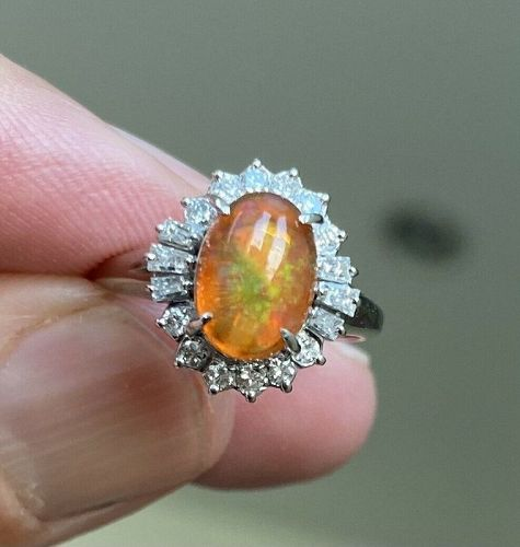 Exquisite 1.56ct Mexico Fire Opal & Diamond Ring In Platinum