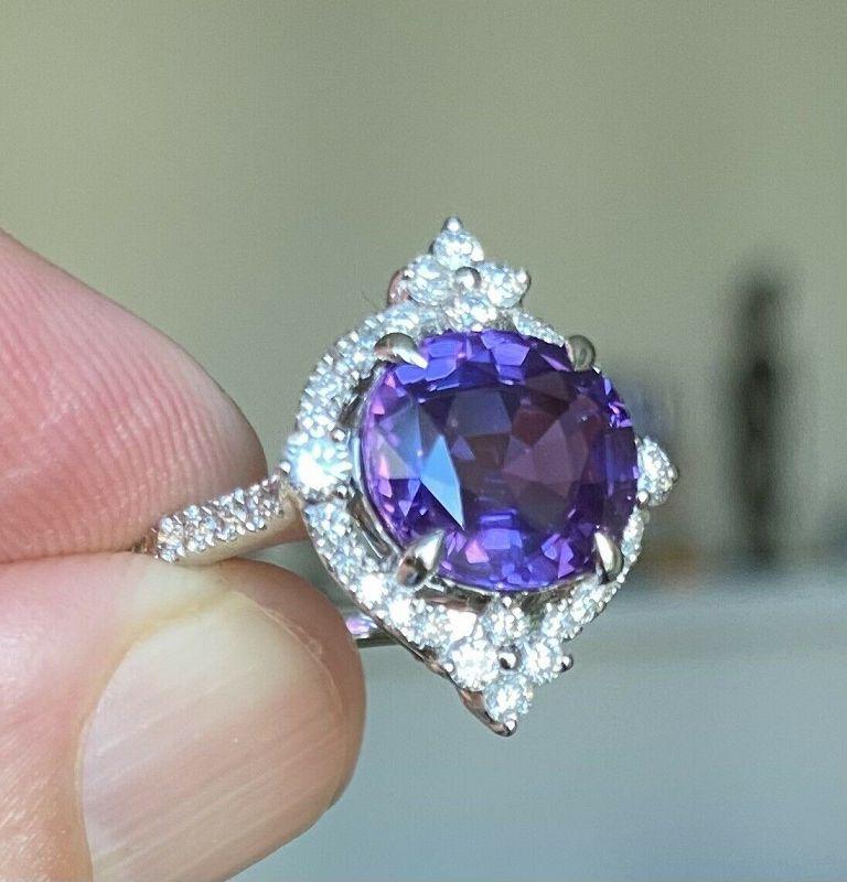 Stunning 4.68ct Purple Sapphire & Diamond Ring In Platinum AIGS Cert
