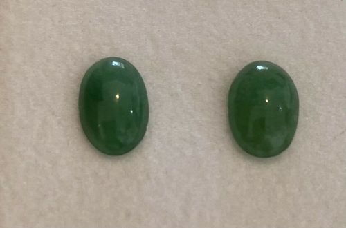 Very Pretty 5.19ct Green Grade A Burma Jadeite Jade Cabochon Pair
