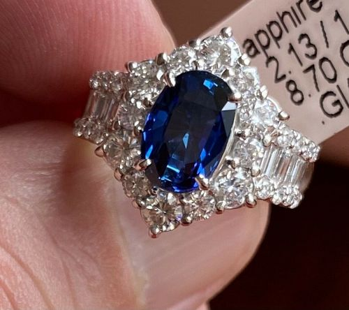 Stunning Unheated 2.13ct Burma Blue Sapphire Platinum Diamond Ring GIA