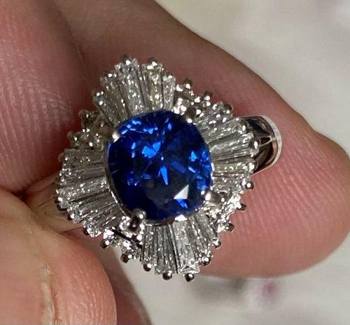 Stunning Unheated 1.95ct Burma Blue Sapphire Platinum & Diamond Ring G