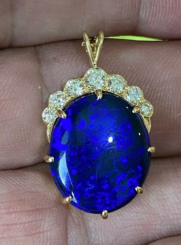 Magnificent 12.00ct Australian Black Opal & Diamond 18k Pendant