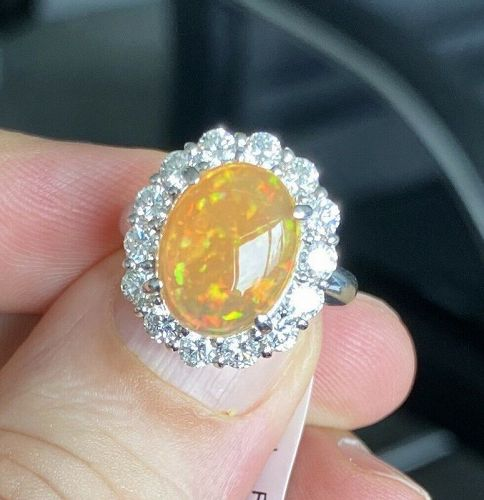 Magnificent 3.60ct Mexico Fire Opal & Diamond Ring In Platinum