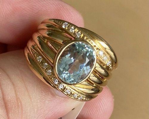 Beautiful Unisex Brazil 3.26ct Aquamarine 18k Ring