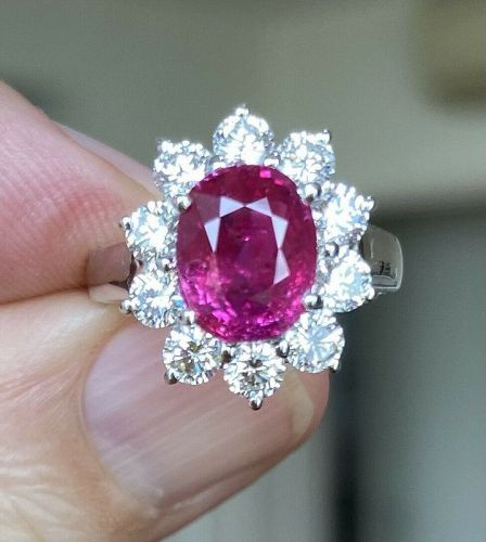 An Important Unheated Burma 3.11ct Ruby & Diamond Ring GRS Cert