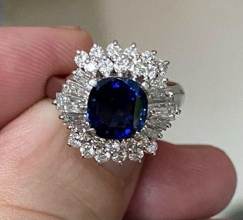 Gorgeous Unheated 2.04ct Blue Sapphire Platinum & Diamond Ring Lotus C
