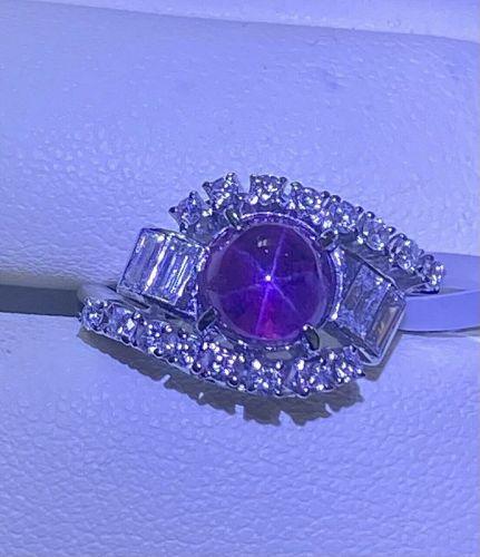 Beautiful 3.05ct MIKIMOTO Unheated Purple Star Sapphire Platinum & Dia