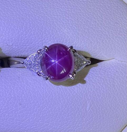 Delightful 3.82ct Unheated Burma Star Ruby Platinum & Diamond Ring