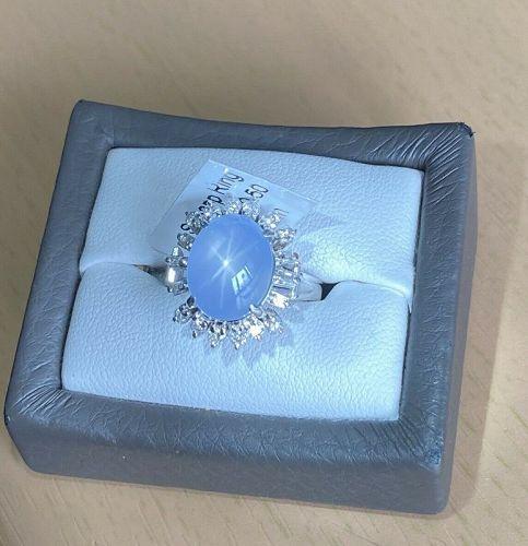 Superb 10.03ct Unheated Grey Blue Star Sapphire Platinum Diamond Ring