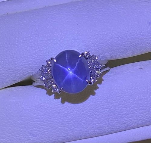 Beautiful 4.58ct Unheated Blue Star Sapphire Platinum & Diamond Ring
