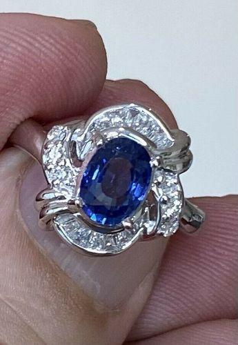 Exquisite Unheated 1.21ct Blue Sapphire Platinum Diamond Ring