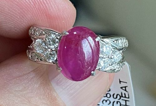 Beautiful Unheated Burma 3.58ct Cabochon Ruby & Diamond Ring & Cert