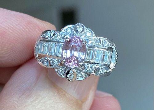 Extraordinary Unheated 1.23ct Padparadscha Sapphire & Diamond Ring GIA