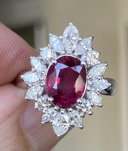 A Sensational Unheated 1.71ct Burma Ruby & Diamond Ring GIA Cert