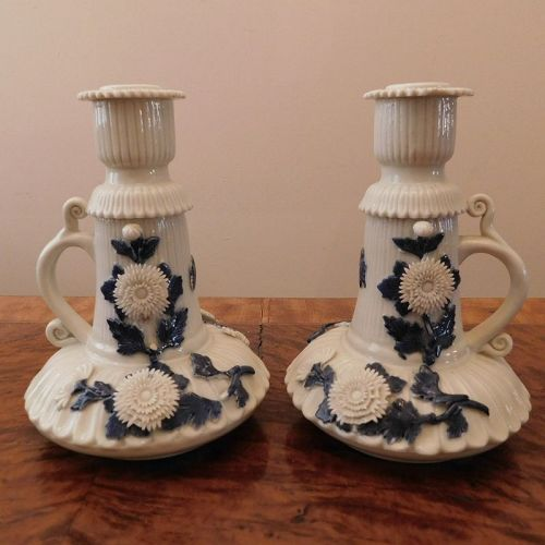 Pair Japanese Hirado Porcelain Chrysanthemum Motif Candle Holders