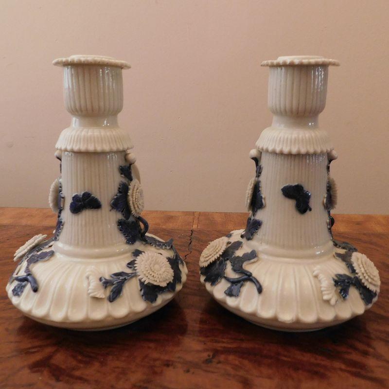 Pair Japanese Hirado Porcelain Chrysanthemum Motif Candle Holders
