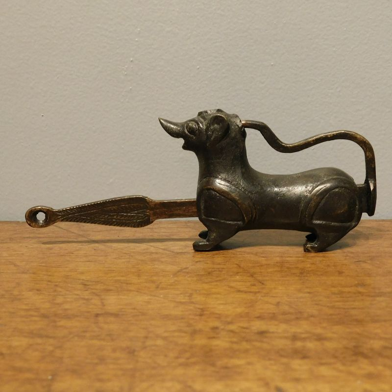 Unusual Chinese Brass Dog Form Furniture Lock
