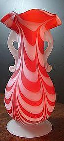 Nailsea Satin Ruby Drape Vase