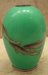 Japanese Cloisonne Cabinet Vase signed Ando Jubei