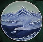 Nabeshima Celadon Landscape Footed Dish