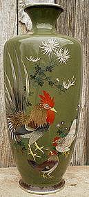 Japanese Cloisonne Vase - Chickens  #1