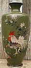 Japanese Cloisonne Vase - Chickens  #2