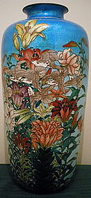 Grand Japanese Ginbari Cloisonne Vase