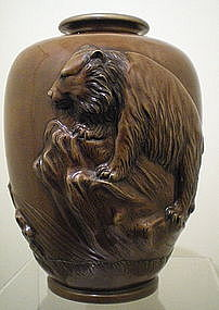 Japanese Bronze Vase - Bear