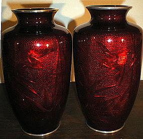 Japanese Pigeon Blood Cloisonne Vases