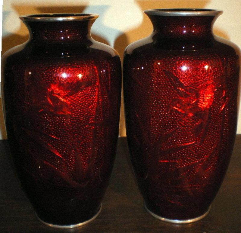 Japanese Pigeon Blood Cloisonne Vases Item 791285