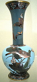 Japanese Cloisonne Vase - Bird and Butterflies