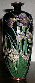 Signed Japanese Cloisonne Vase - Iris
