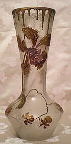 Mont Joye Cameo Glass Vase - Orchids
