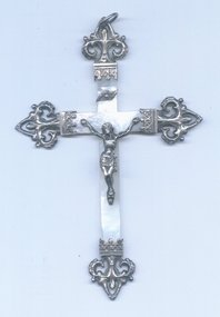 French Silver & Mother of Pearl Crucifix      1880-1895
