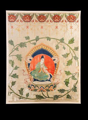 A Chinese Silk Brocade Thanka