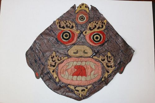 Tibetan Silk Appliqué Mahakala Mask