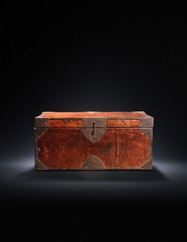 Tibetan Leather and Iron Chest