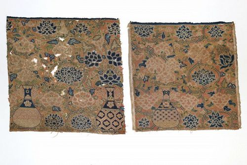 Rare Pair of Ming Dynasty Petit-Point Silk Badges