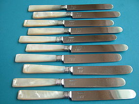 10 coin silver tea knives, maker L.B & Co, circa 1840