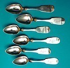 six coin silver teaspoons, J. Lewis