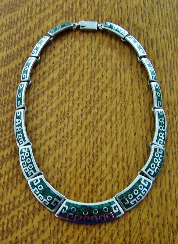 "inlaid enamel ""Aztec"" necklace"