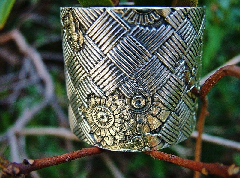 Gorham parcel gilt basket weave napkin ring