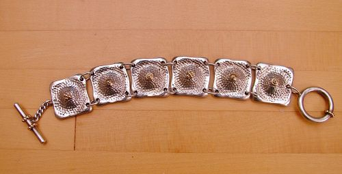 Peter Brams sterling & 14k cast link bracelet