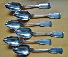 6 Fiddle Thread coin silver dessert spoons, Horace Hotchkiss,