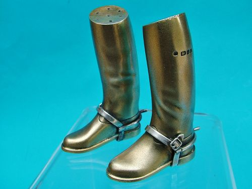 novelty sterling salt and pepper set, riding boots, Theo Fennell,