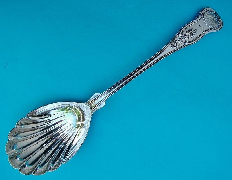 George Sharp Coin silver King's shell bowl serving spoon