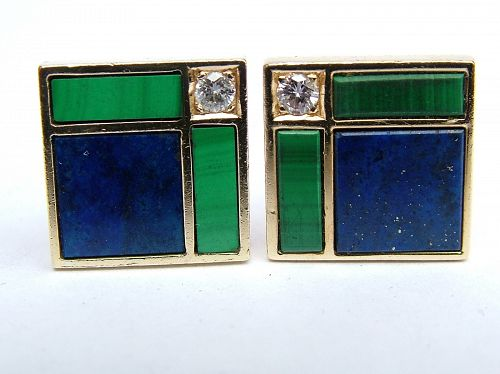 Art Deco gold, diamond, lapis & malachite cufflinks, 18 & 14k