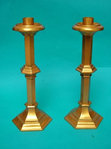 a fine pair of Gorham gilt bronze candlesticks,